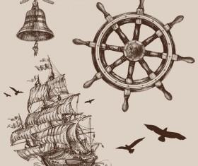 Hand drawn marine sketches vector 01