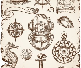 Hand drawn marine sketches vector 02
