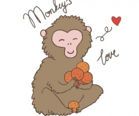 Hand drawn monkeys vector material