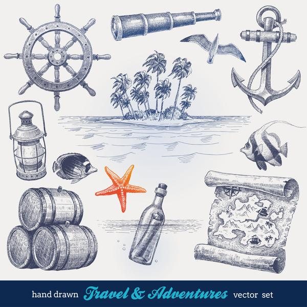 Hand drawn navigation travel vector material