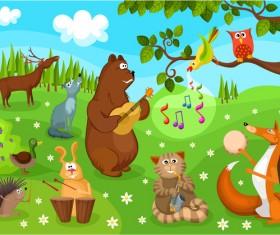 Happy cartoon animal vector material
