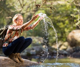 Happy female tourist Stock Photo