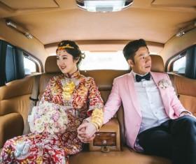 Happy marriage couple on car Stock Photo