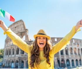 Happy woman holding Italian flag Stock Photo 02