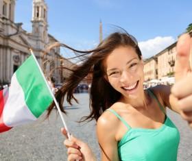 Happy woman holding Italian flag Stock Photo 03