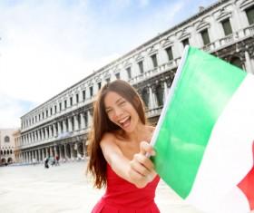 Happy woman holding Italian flag Stock Photo 04