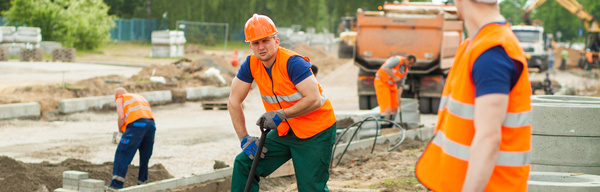 Hard work road construction workers Stock Photo 01