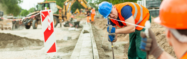 Hard work road construction workers Stock Photo 02