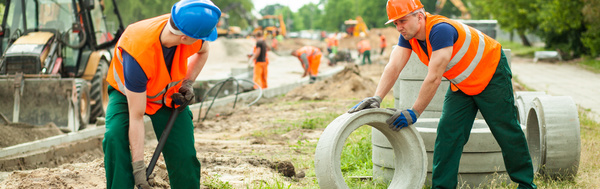 Hard work road construction workers Stock Photo 03