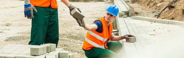Hard work road construction workers Stock Photo 05