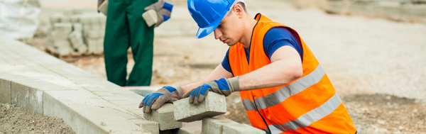 Hard work road construction workers Stock Photo 14