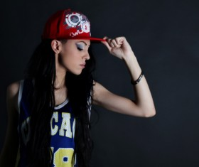 Hip-hop girl dressed up Stock Photo