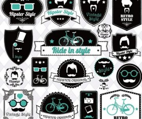 Hipster with bike logos vector