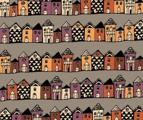 Houses streets seamless patterns vector material 02