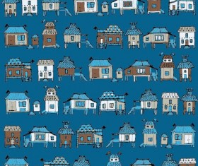 Houses streets seamless patterns vector material 03