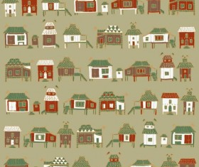 Houses streets seamless patterns vector material 04