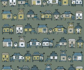 Houses streets seamless patterns vector material 05
