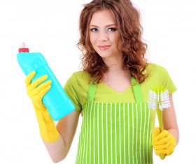 Housewife doing sanitary cleaning Stock Photo 02
