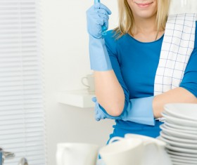 Housewife doing sanitary cleaning Stock Photo 03