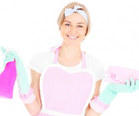 Housewife doing sanitary cleaning Stock Photo 04