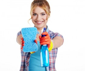 Housewife doing sanitary cleaning Stock Photo 05
