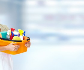Housewife doing sanitary cleaning Stock Photo 07