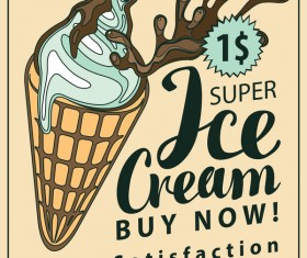 Ice cream vintage poster vector material