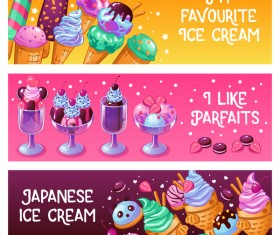 Ice creame horizontal banners vector