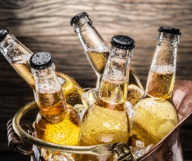 Iced bottled beer Stock Photo