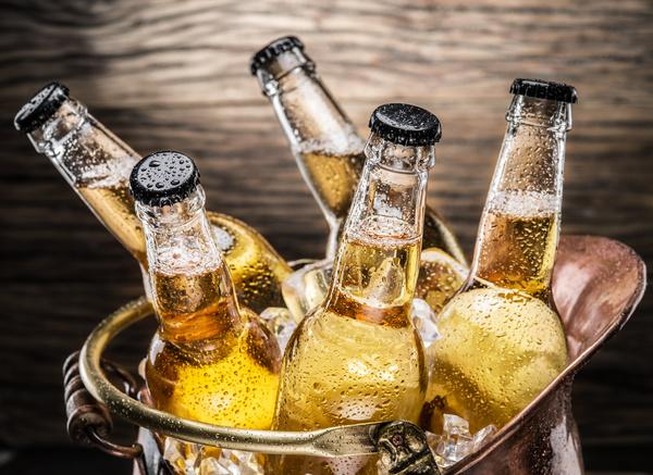 Iced bottled beer Stock Photo