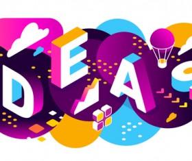 Ideas 3d business words illustration vector