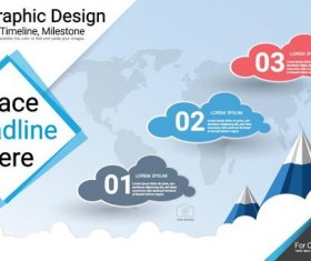 Infographic template with cloud vectors 02