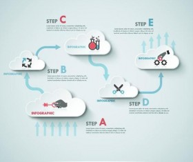 Infographic template with cloud vectors 04