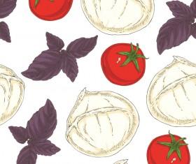 Italian vegetable seamless pattern vectors 02
