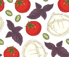 Italian vegetable seamless pattern vectors 04