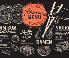 Japanese sushi menu vector