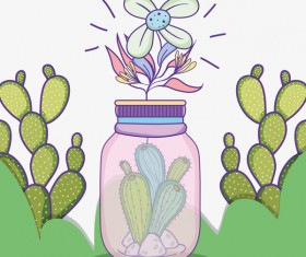 Jar with flower vector material 04