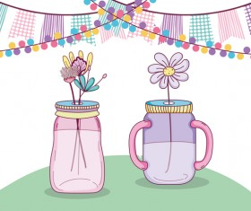 Jar with flower vector material 05