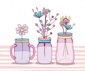 Jar with flower vector material 06