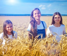 Kids in the wheat field Stock Photo 02