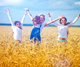 Kids in the wheat field Stock Photo 03
