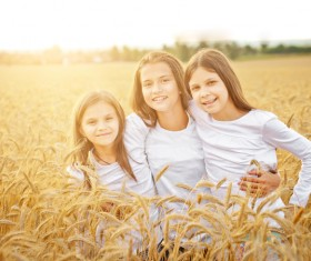 Kids in the wheat field Stock Photo 05
