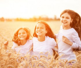 Kids in the wheat field Stock Photo 07