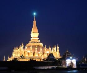 Laos Temple Night scene Stock Photo