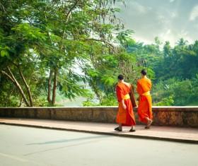 Laos monk Stock Photo