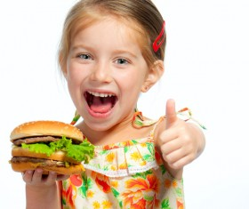 Like to eat hamburger little girl Stock Photo 01