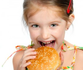 Like to eat hamburger little girl Stock Photo 02