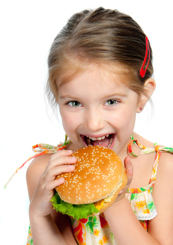 Like to eat hamburger little girl Stock Photo 02