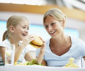 Like to eat hamburger little girl Stock Photo 03