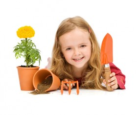 Little girl and toy Stock Photo